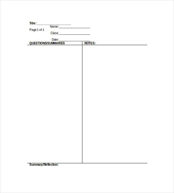 cornell notes template bluevalleyk1