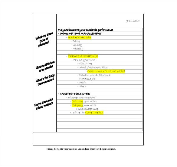 Free Cornell Notes  Free Sample Example Format Download