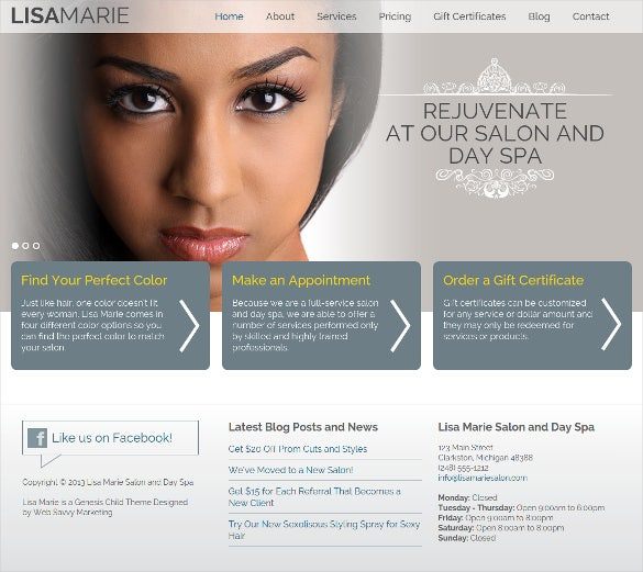 lisa marie wordpress hair salon theme