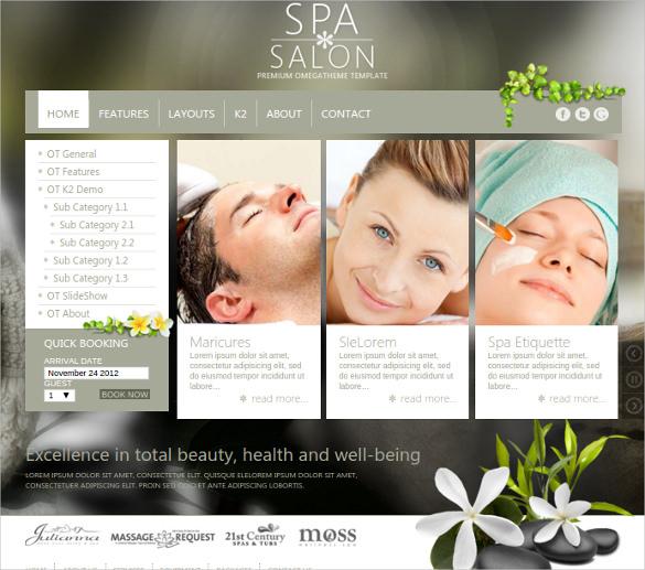free spa salon business joomla template