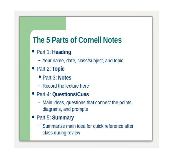 Cornell Notes Powerpoints  Free Sample Example Format Download