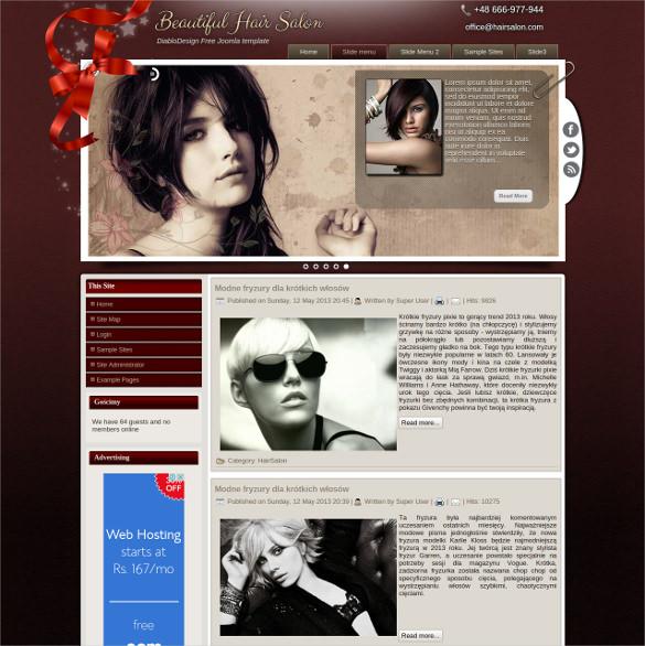 hair salon free joomla template download
