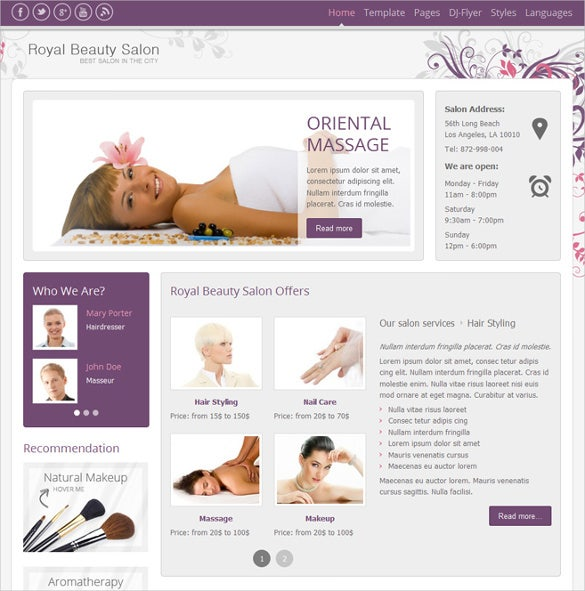 drupal themes hair salon