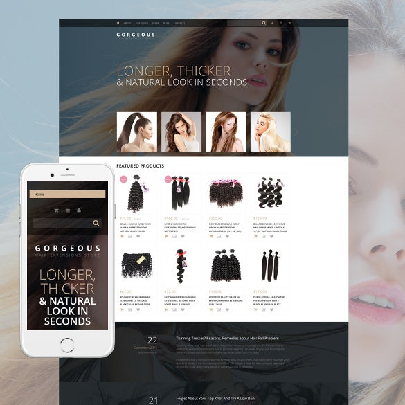 hair extensions salon woocommerce blog theme