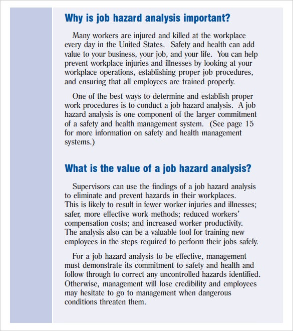 Job Hazart Analysis Template PDF Format Download  Hazard Analysis Template