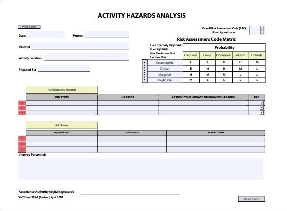 printable activity hazard analysis template pdf download