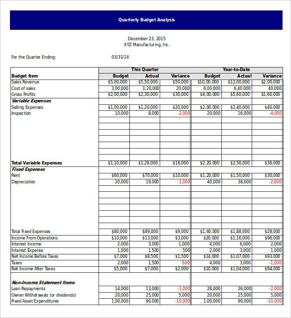 quarterly budget analysis template excel free download