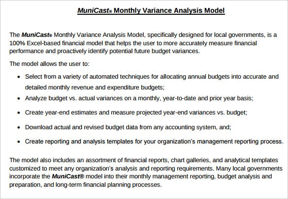 monthly budget variance analysis template pdf