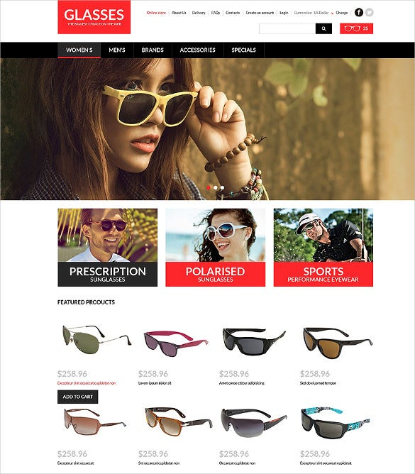 eye glasses store fashion virtuemart template
