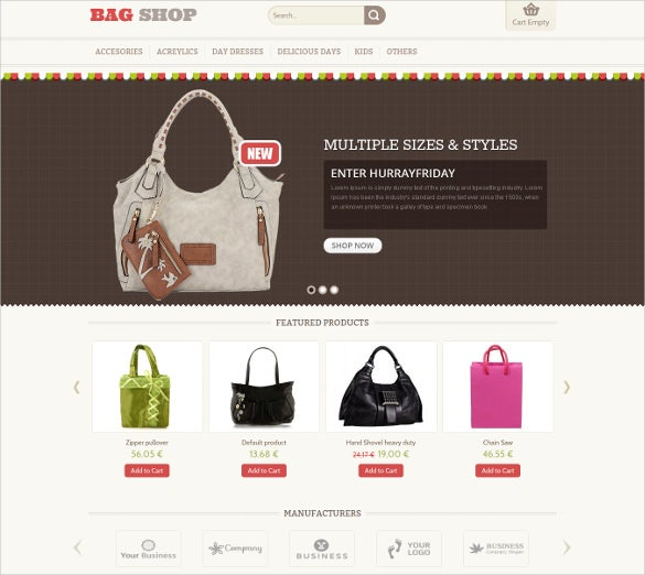 bag shop fashion virtuemart template