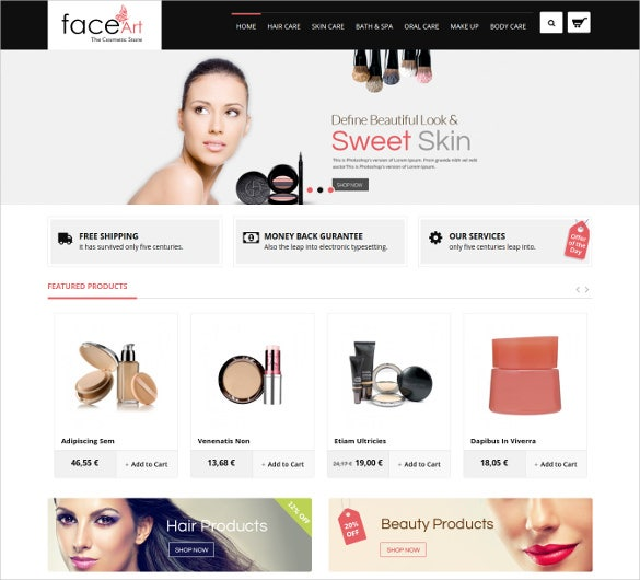online cosmetic fashion shop theme