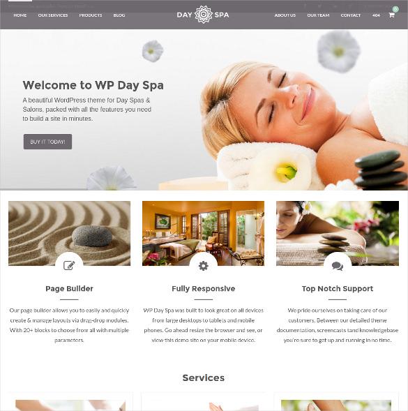 day spa salon wordpress html5 theme