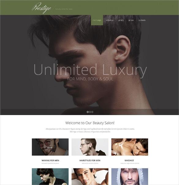 male beauty salon website html5 template
