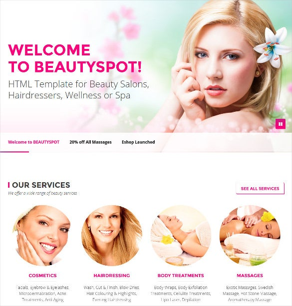 html template for beauty salons