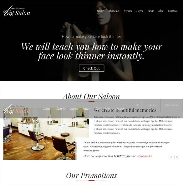 beauty salon barber bootstrap template
