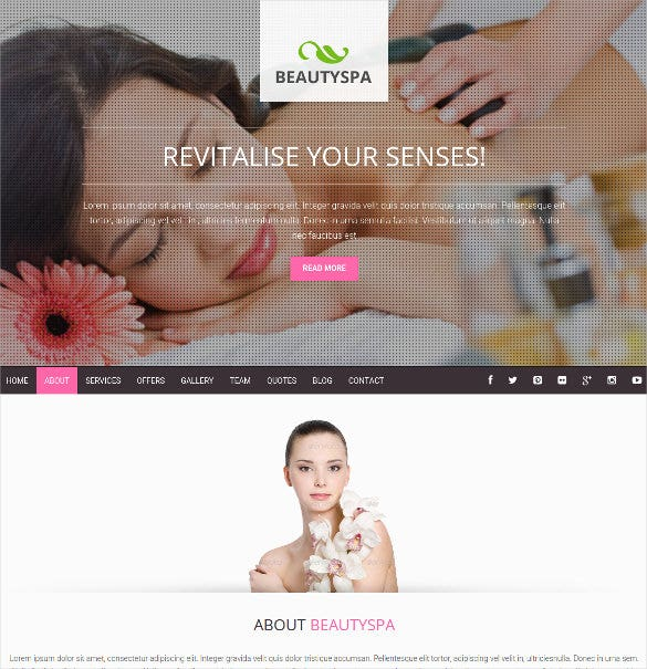 spa salon wordpress bootstrap theme