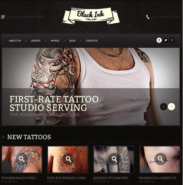tattoo salon responsive website bootstrap template