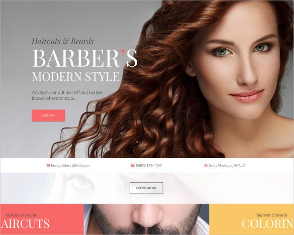barbershop hair salon bootstrap template