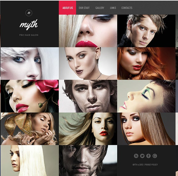 hair salon website bootstrap template