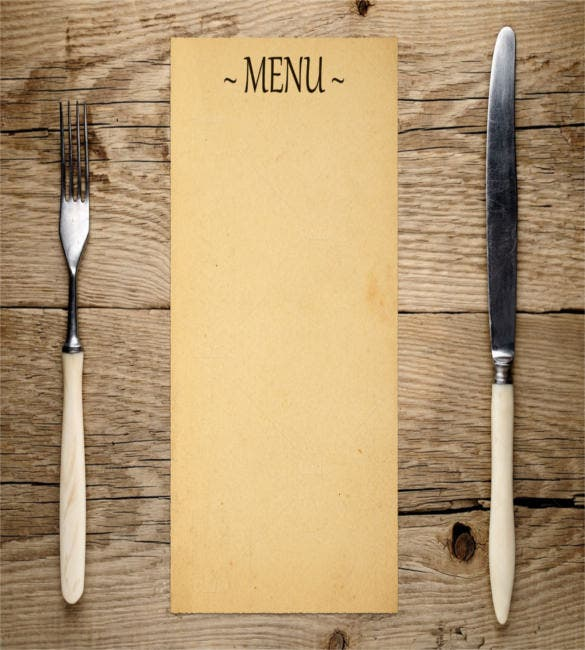 blank menu fork and knife