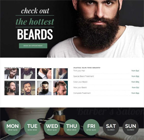 bootstrap template for barbers hair salon