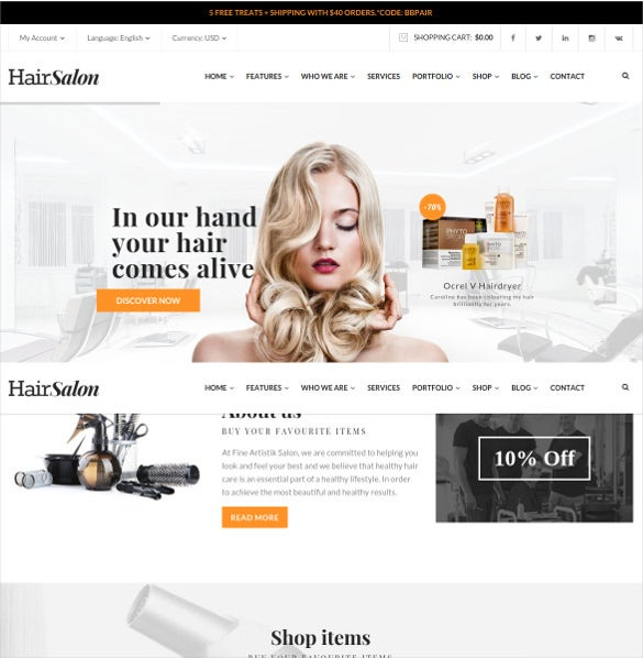 hair salon a barber wordpress bootstrap theme