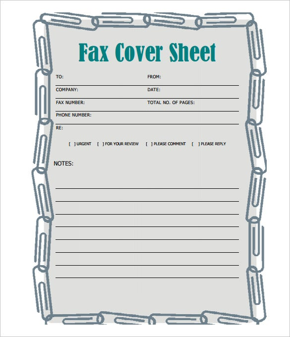 Blank Printable Fax Cover Sheet Template PDF Format  Fax Cover Template Microsoft Word