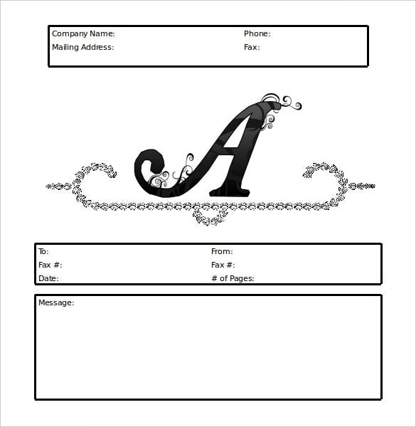 Personal Monogram Script Fax Cover Sheet Template  Free Fax Template Cover Sheet Word