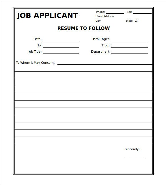 Job Applicant Resume Fax Cover Sheet Template