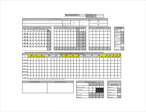 TimeSheet Template 21 Free Word Excel PDF Documents Download – Monthly Timesheet Calculator