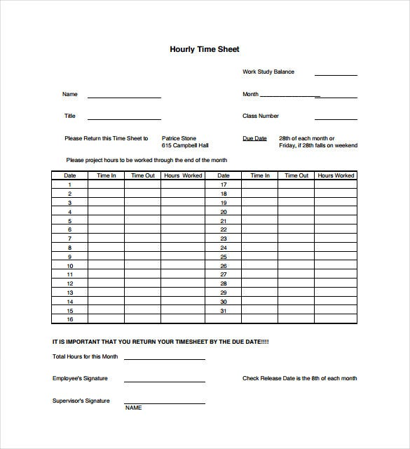 14 time sheet templates free sample example format download