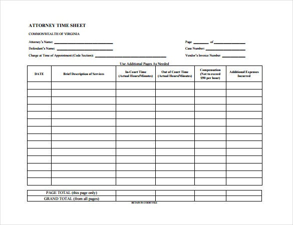 attorney time sheet pdf free download