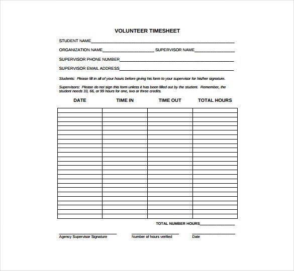 volunteer time sheet pdf free download