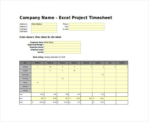 project time sheet excel template free download