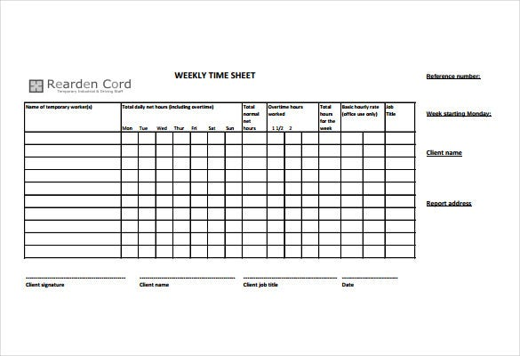 Timesheet Template   Free Word Excel Pdf Documents Download