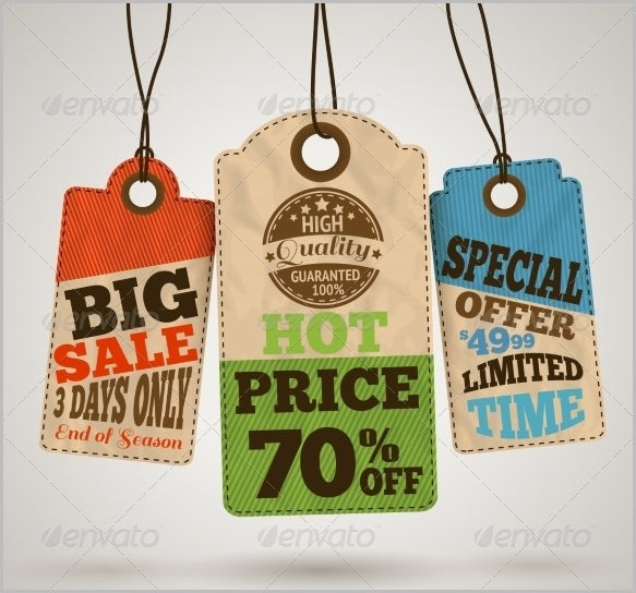 cardboard sale price tag template vector eps download