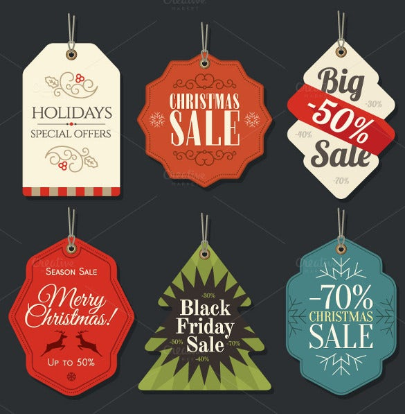 6 christmas retail sale tag template eps download