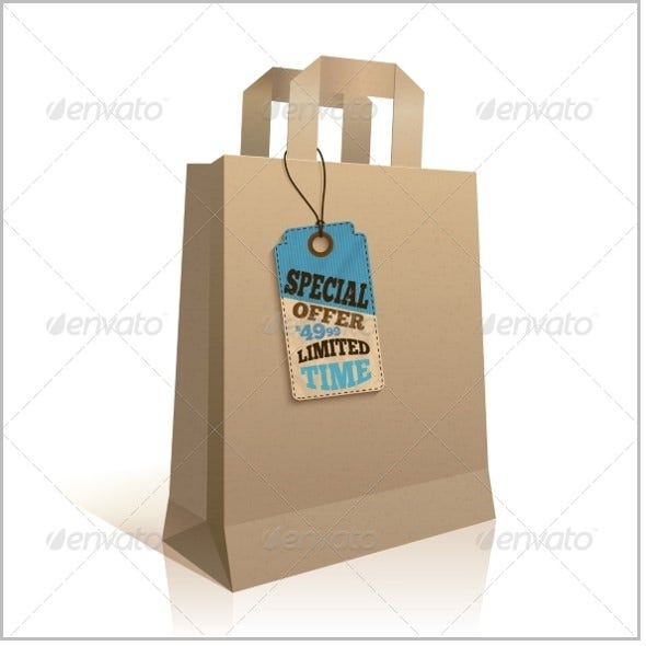 paper shopping bag with tag vector eps format