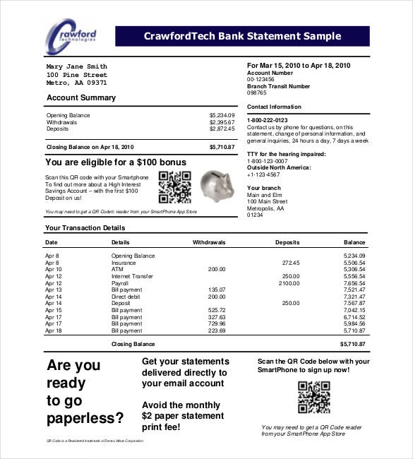 Champlain College Publishing  Blank Bank Statement Template