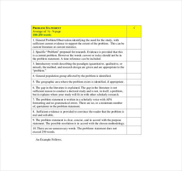 problem statement checklist template