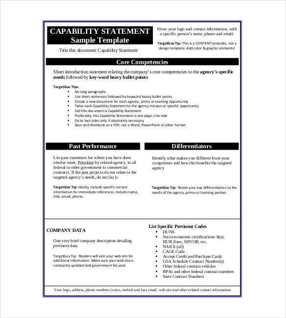 capability statement sample template
