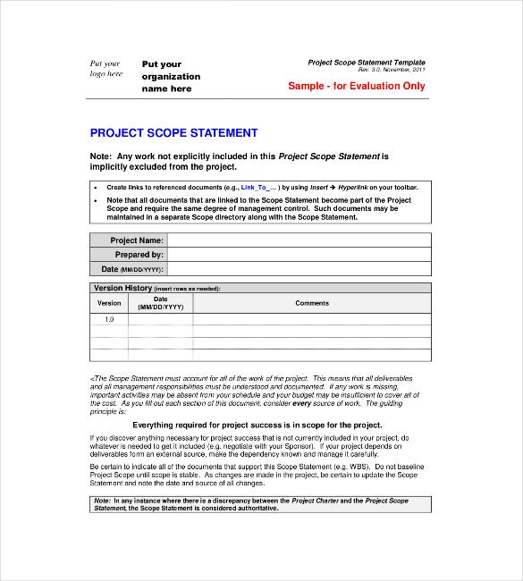 project scope statement teplate