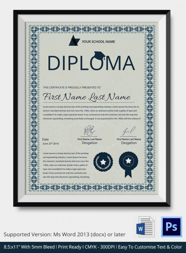 Best Diploma Certificate Template
