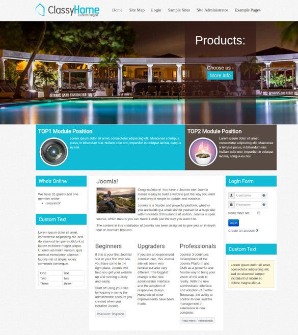 free home products website joomla template