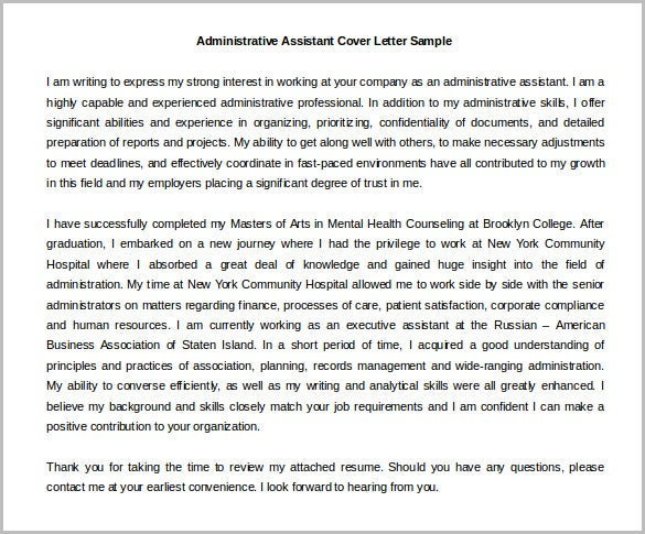 Health Administrative Assistant Cover Letter Template Word Doc