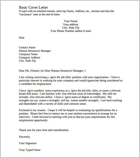 Cover Letter Template   Free Word Pdf Documents Download