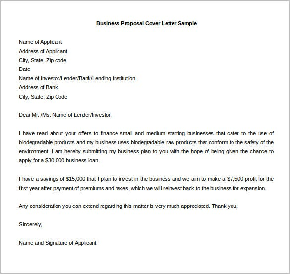 business proposal plan cover letter sample download