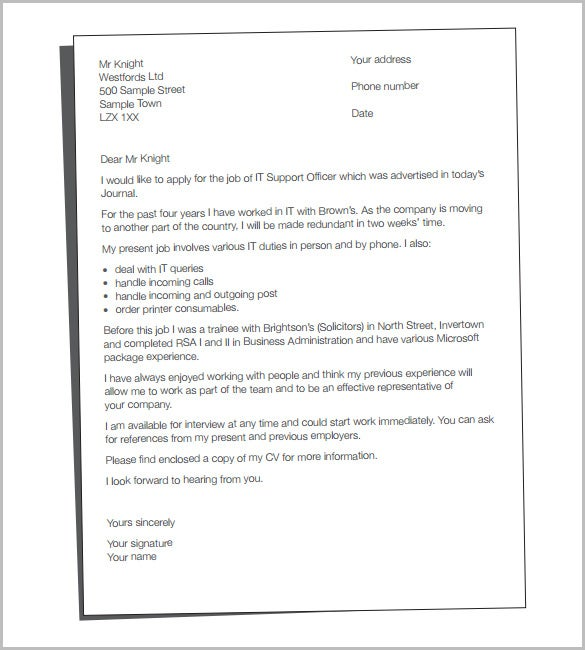 CV Cover Letter Template For Mac PDF Format