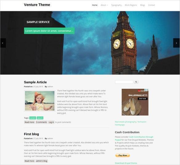 free venture website drupal theme