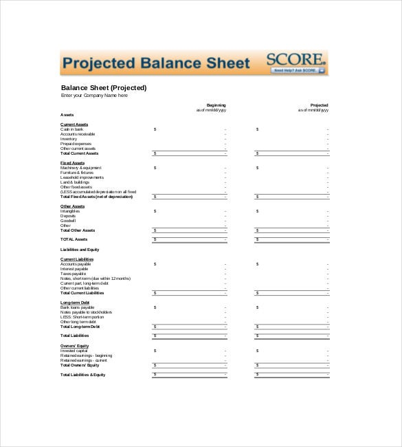 project balance sheet template